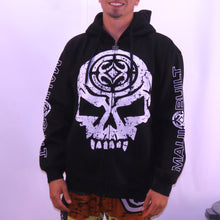 Load image into Gallery viewer, Maui Built Skull Logo Zippered Fleece Hoody - Black