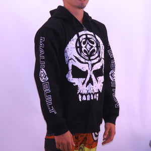 Maui Built Skull Logo Zippered Fleece Hoody - Black