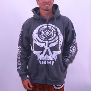 Maui Built Skull Logo Zippered Fleece Hoody - Grey