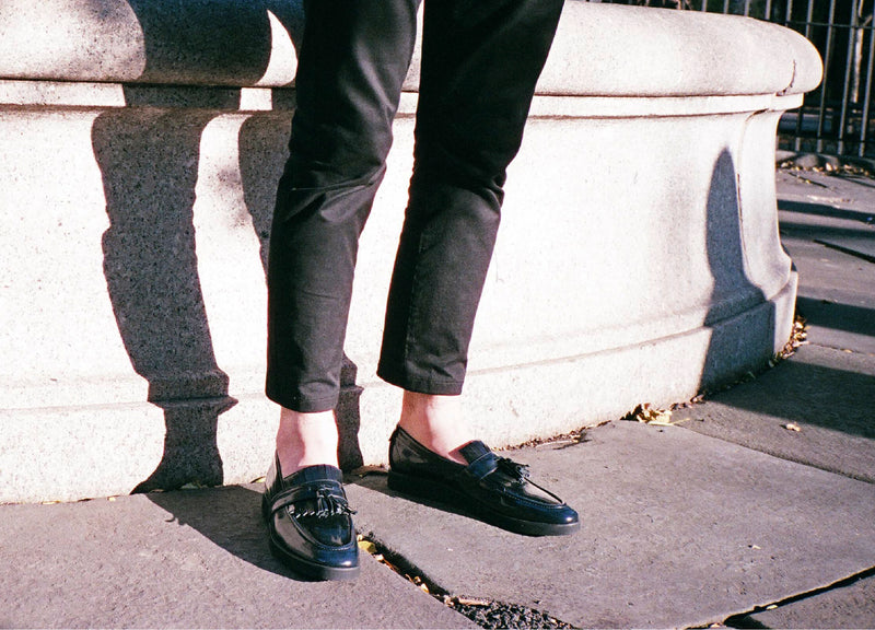 Navy Modern Leather Loafer On Foot