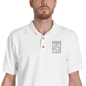 Texas Outlaw Press Original White Logo Embroidered Polo Shirt