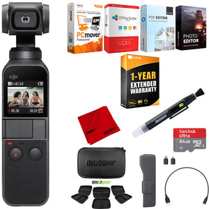 DJI Osmo Pocket Handheld 3-Axis Gimbal Stabilizer+64GB Storage&Extended Warranty