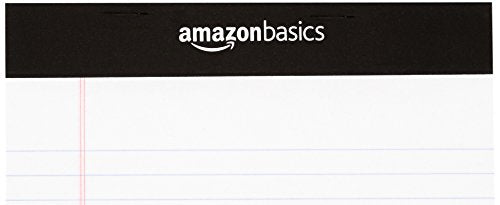 AmazonBasics Narrow Ruled 5 x 8-Inch Writing Notepads - White (50 Sheet Paper Pads, 12 pack)