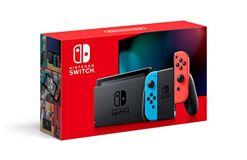 Nintendo Switch with Neon Blue and Neon Red JoyCon Video Game Console