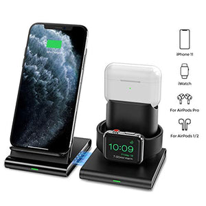 Seneo Wireless Charger, 3 in 1 Wireless Charging Station for Apple Watch, AirPods Pro and AirPods 2, Detachable and Magnetic Wireless Charging Stand for iPhone 11 Pro Max/X/XS/XR/8Plus