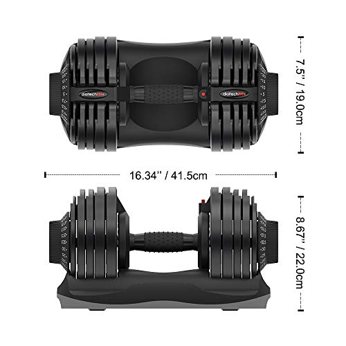 Adjustable Dumbbell Fitness Dial Dumbbell with Handle and Weight Plate for Home Gym