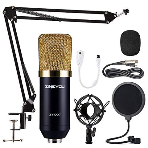 Condenser Microphone Bundle, Professional Cardioid Studio Condenser Mic Includes Adjustable Suspension Scissor Arm Stand, Shock Mount and Pop Filter, Podcasting, Studio Recording & Broadcasting