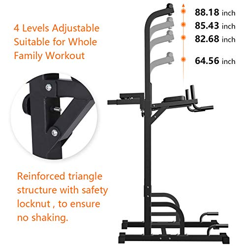 Power Tower Dip Station Pull Up Bar for Home Gym Strength Training Workout Equipment