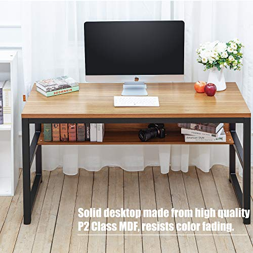 Computer Desk with Bookshelf and Metal Desk