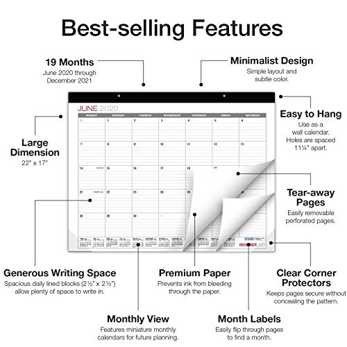 "Professional Desk and Wall Calendar 2020-2021: Large Monthly Pages - 22""x17"""