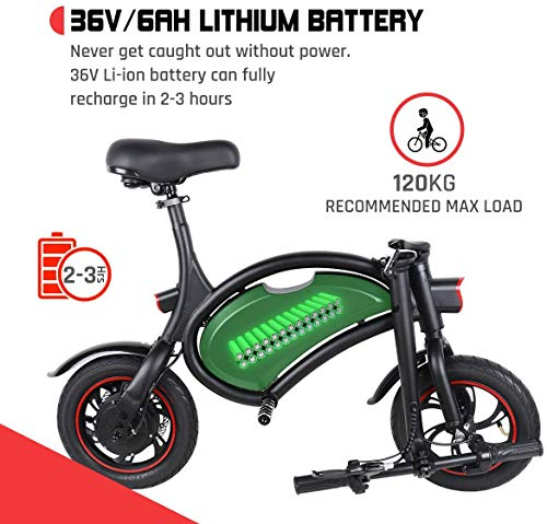 Folding Electric Bicycle 350W, Waterproof Electric Bike with 15 Mile Range, Dual Disc Brakes