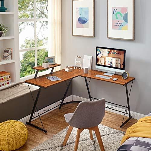 L-Shaped Desk, Computer or Office Desk with Large Monitor Stand