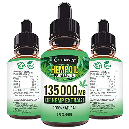 Pure Hemp Extract 135000 MG for Pain Relief, Relaxation, Sleep and Mood Support, Natural, Organic, Vegan, Zero CBD