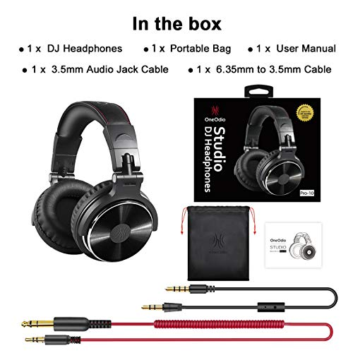 Adapter-Free Over-Ear DJ Stereo Monitor Headphones, Professional Studio Monitor & Mixing