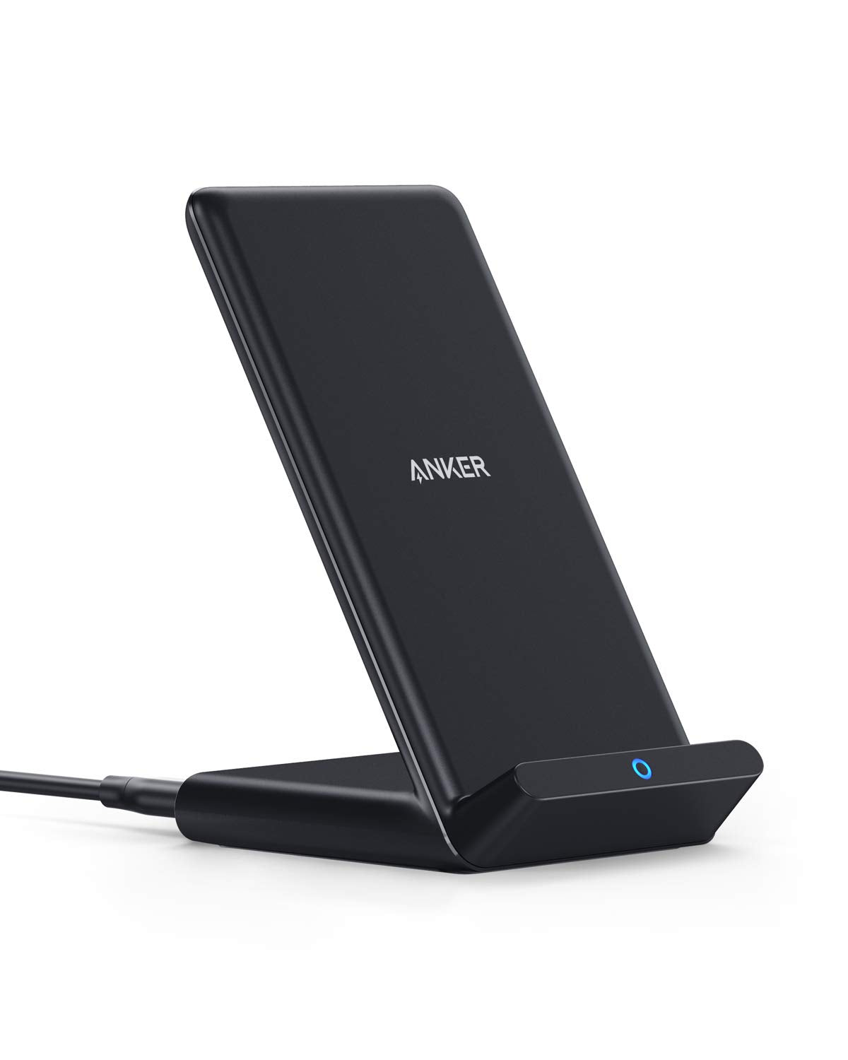 Anker Wireless Charger PowerWave Stand, Qi-Certified for iPhone 11, 11 Pro, 11 Pro Max, XR, Xs Max, XS, X, 8, 8 Plus, 10W Fast-Charging Galaxy S10 S9 S8, Note 10 Note 9 and More (No AC Adapter)