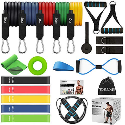 Resistance Bands Set Workout Bands, 5 Stackable Exercise Bands with Handles, 5 Resistance Loop Bands, Jump Rope, Figure 8 Resistance Band, Headband, Cooling Towel
