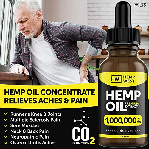 Hemp Oil 1,000,000 MG for Pain, Anxiety Relief - Sleep Support - Organic Extra Strong Formula - Vegan-Friendly - Helps for Skin, Hair - Pure Extract