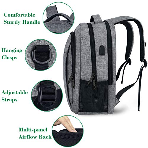Travel Laptop Backpack with USB Charging Port, Business Anti Theft, Water Resistant
