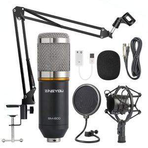 Condenser Microphone Bundle with Adjustable Mic Suspension Scissor Arm for Podcasting and Studio Recording
