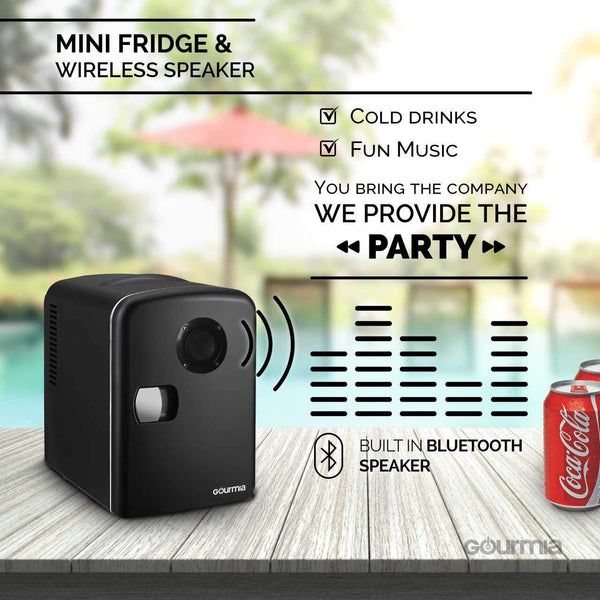 Gourmia Compact & Portable Thermoelectric Mini Fridge Cooler and Warmer with Bluetooth Speaker