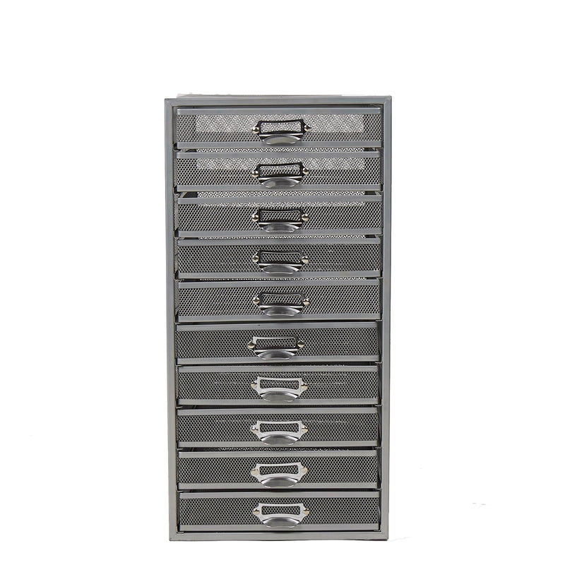 Mind Reader Mesh 10 Drawer Storage Cabinet, Multi-Purpose Organizer, Silver