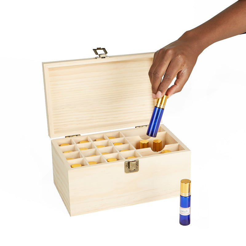 19 Compartment Wooden Essential Oil Storage Box Organizer