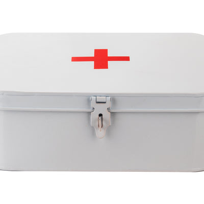 Galvanized Steel Vintage First Aid Storage Box, Container with Buckle Lock, White