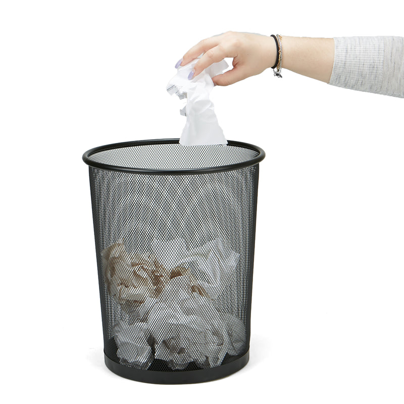 Garbage Waste Basket Recycling Bin, Round Metal Mesh