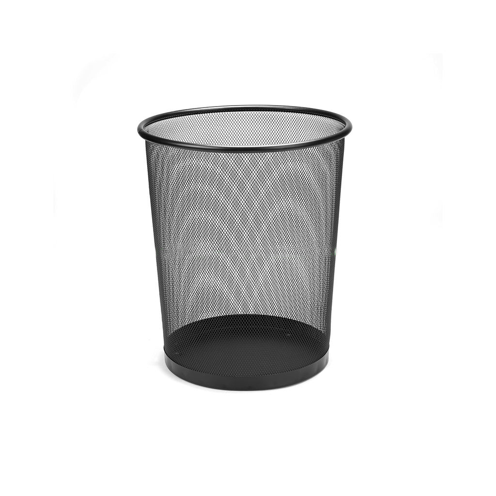 Round Metal Mesh Garbage Waste Basket, Multiple Colors