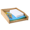 Bamboo File Paper Tray Desk Organizer, Brown