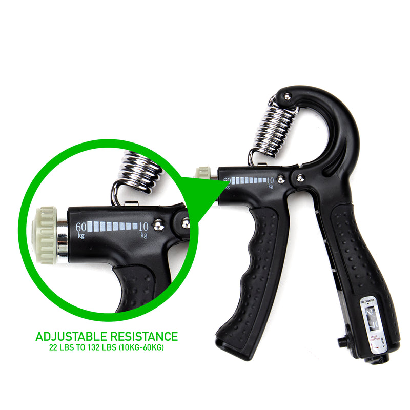 Mind Reader Hand Grip Strengthener with Counter, Adjustable Resistance (22-132 lbs, 10-60kg) Grip Strength Trainer, Multiple Colors