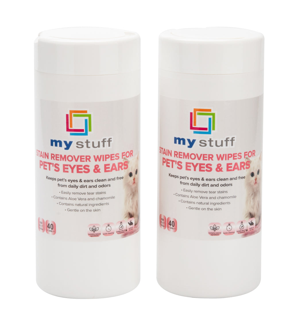 My Stuff Pet Eye and Ear Cleaning Wipes with Aloe Vera & Chamomile, 40-ct (Pack of 2)
