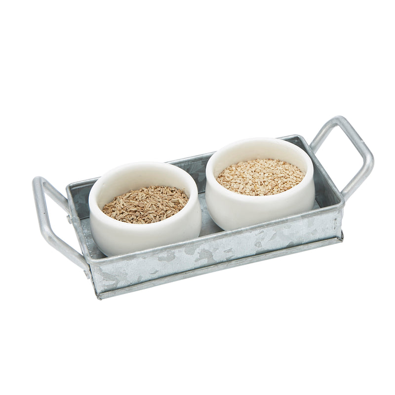 2 Ceramic Bowls with Galvanized Tray, Condiment Serving Set with Galvanized Serving Board, Serving Tray, Ceramic Serving Bowls, Silver
