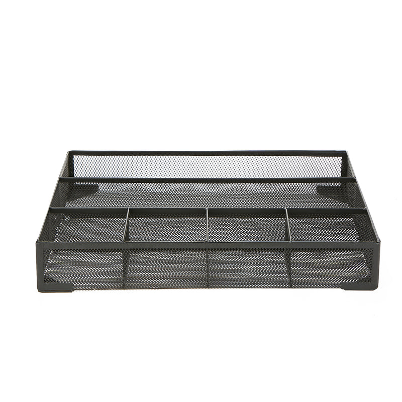 Mind Reader 2-Piece Mesh Deep Drawer Organizer, Desk Accessories Organizer, Black Wire Mesh 6 Compartments, Storage Drawer Organizer