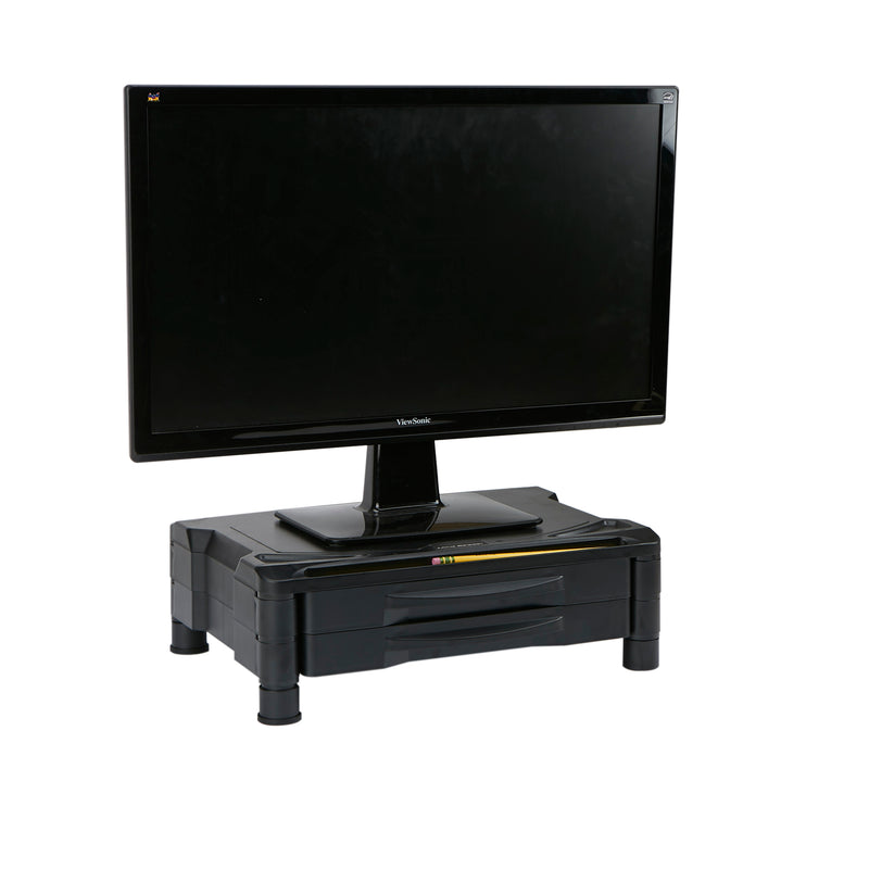 Multi-Drawer Tiered Plastic Monitor Stand with Storage for Computer, Laptop, Desk, IMac, Dell, HP, Printer