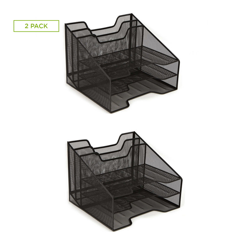 Mesh Desk Organizer 5 Trays Desktop Document Letter Tray - 2 Pack