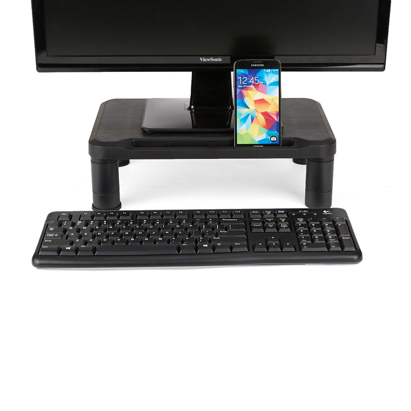 Mind Reader Small Monitor Stand, Durable Plastic Monitor Riser, for Computer Monitor, Laptop, PC, MacBook, Black