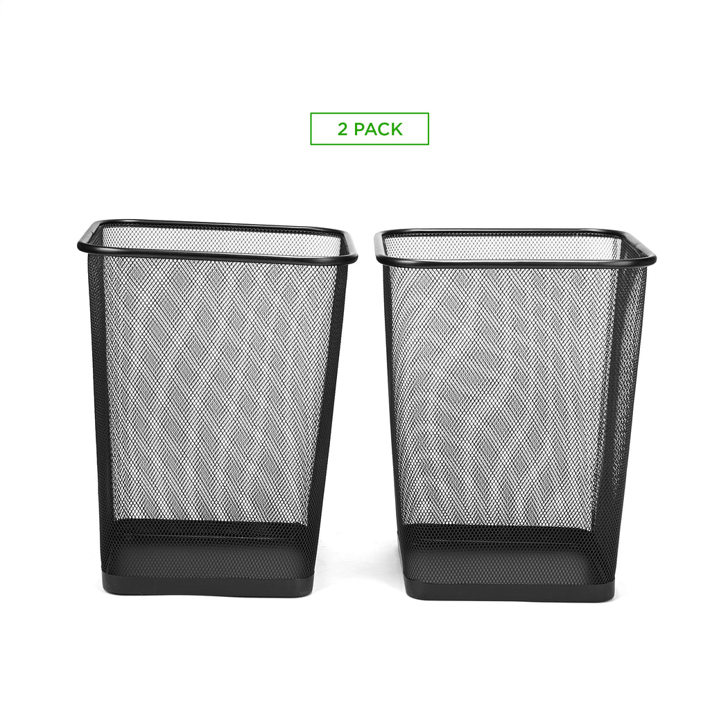 2-Piece Garbage Waste Basket Recycling Bin Set, Square Metal Mesh, Black