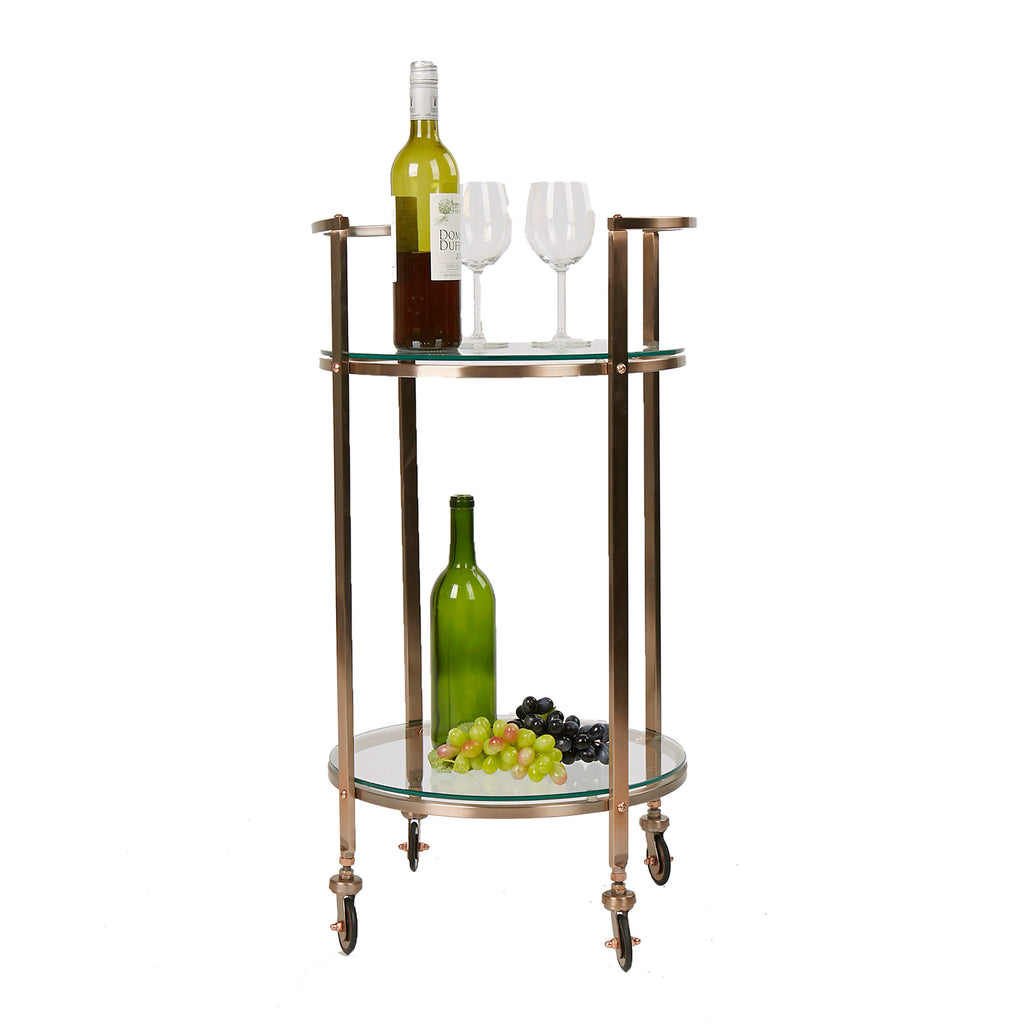 Mind Reader 2 Tier Bar Cart, Metal Bar Cart with Glass Top