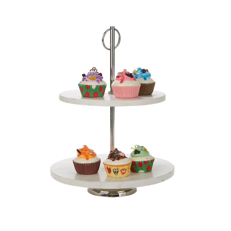 Mind Reader 2-Tier Marble Pastry and Cupcake Display Stand