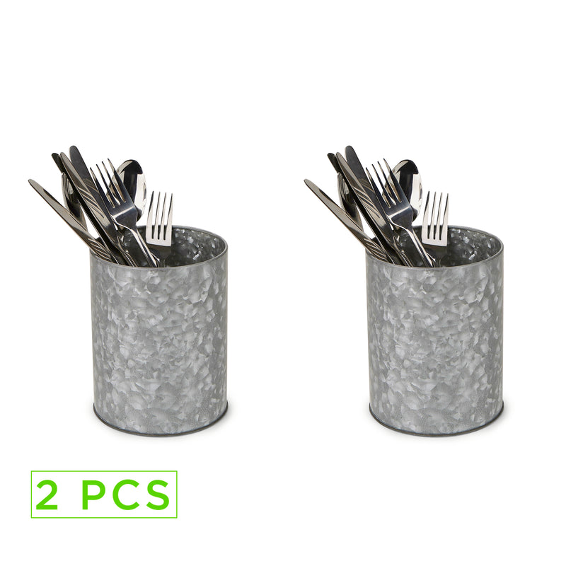Mind Reader 2-Pack Galvanized Utensil Holder, Serve Ware Holder, Kitchen Condiment Organizer, Forks, Spoons, Knives, Dining Table, Countertop, Kitchen