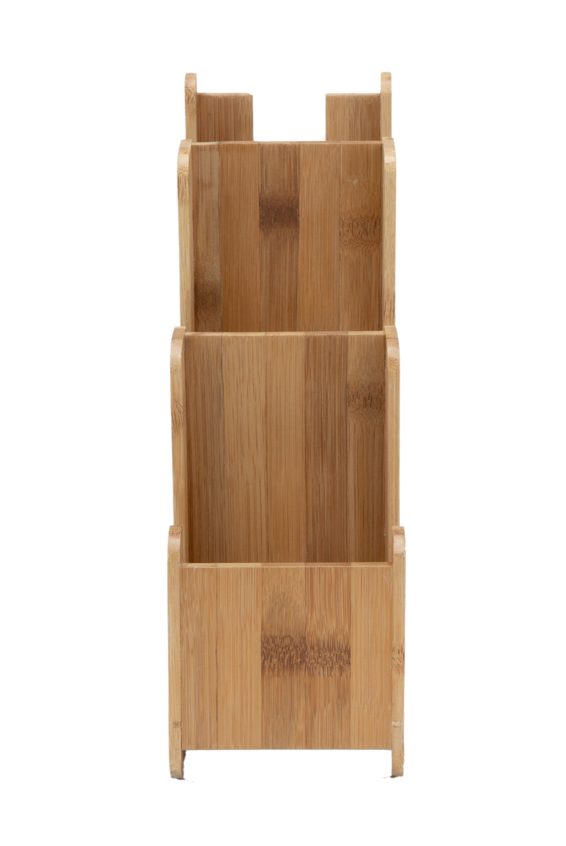 3 Compartment Bamboo Multi-Section Holder, Brown