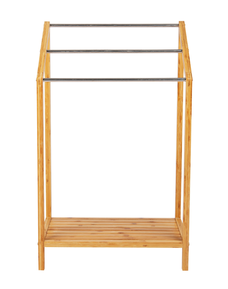 3-Tier Freestanding Bamboo Towel and Sheet Drying Rack with Bottom Shelf, Brown