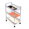Rolling Metal Mesh 3 Shelf Cart, Silver