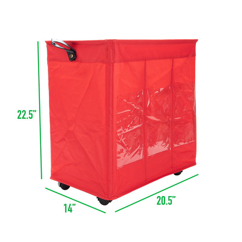 3-Section Rolling Hamper on Wheels 105L 44lb