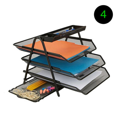 Mind Reader 3 Tray Desktop Letter Tray Organizer with Pull Out Drawer - 3 Pack