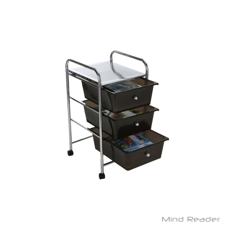 Storage Trolley 3 Drawers Rolling Cart with Removable Containers, Black