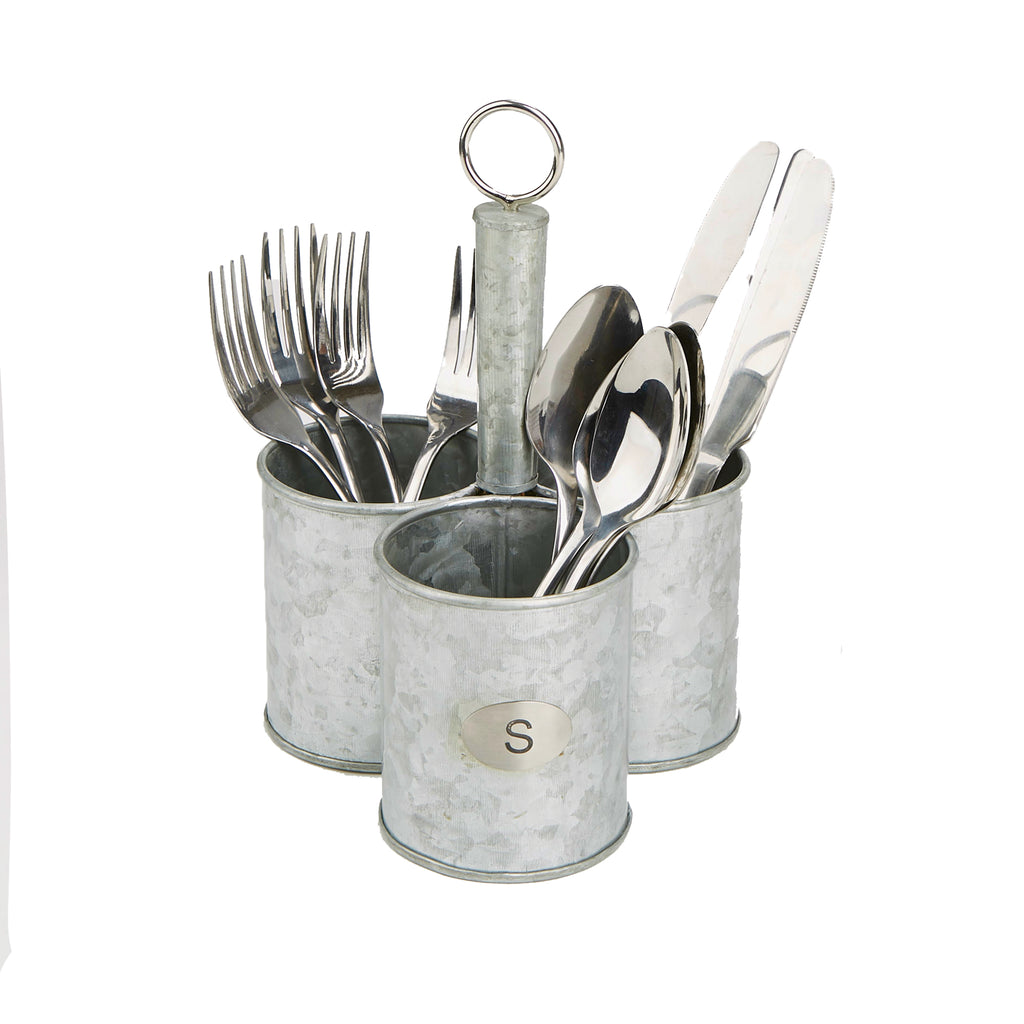 3-Cup Galvanized Steel  Kitchen Countertop Utensils Caddy