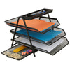 3 Trays Desktop Document Letter Tray Organizer with Pull Out Drawer