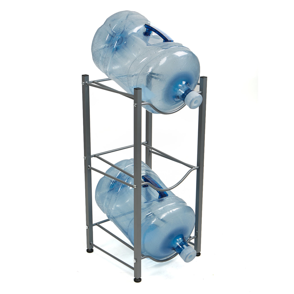 Mind Reader Heavy Duty Water Cooler Jug Holder [3 Tier] Storage Rack For 5 Gallon Bottles (Silver)